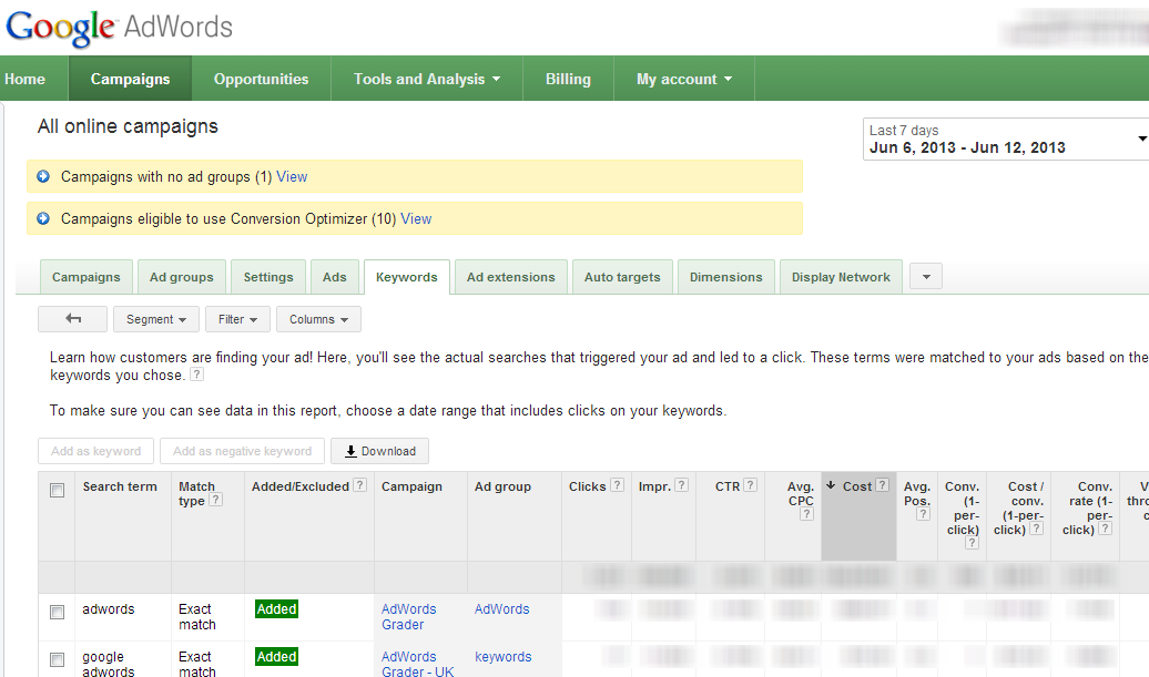 AdWords Campaign > Keywords > Details > Search Term Report