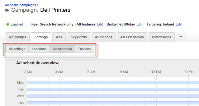 ad schedule settings
