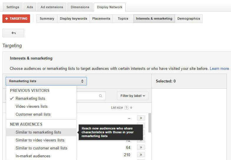 AdWords Similar Audiences interface
