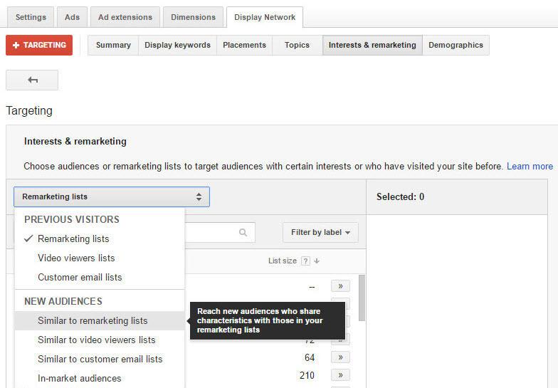 AdWords Similar Audiences interface