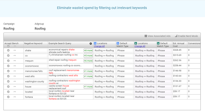 adwords software provides powerful negative keywords tool