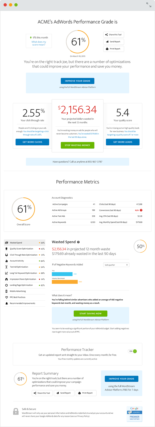 AdWords software is even more useful when you know what to optimize, so try wordstream's adwords performance grader today