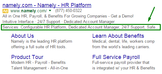 structured snippets example