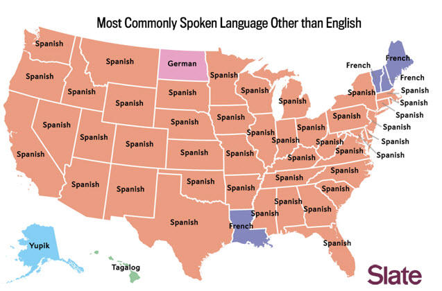 map for most commonly spoken language other than english