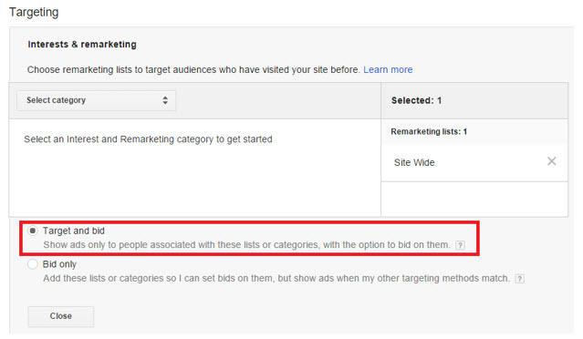 rlsa target and bid settings
