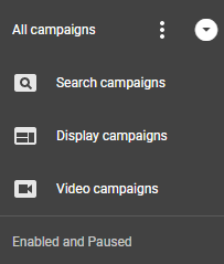 adwords ui campaign type selection