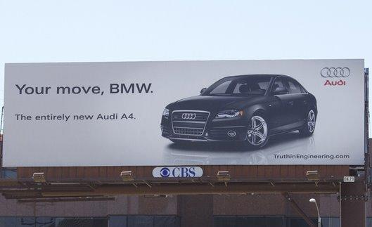 Ambush marketing Audi vs. BMW billboard Your Move, BMW