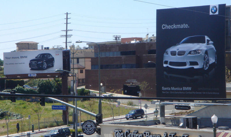 Ambush marketing Audi vs. BMW billboard war Checkmate