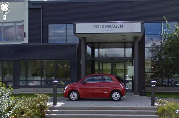 Ambush marketing Fiat photobombs Volkswagen Swedish headquarters Google Maps