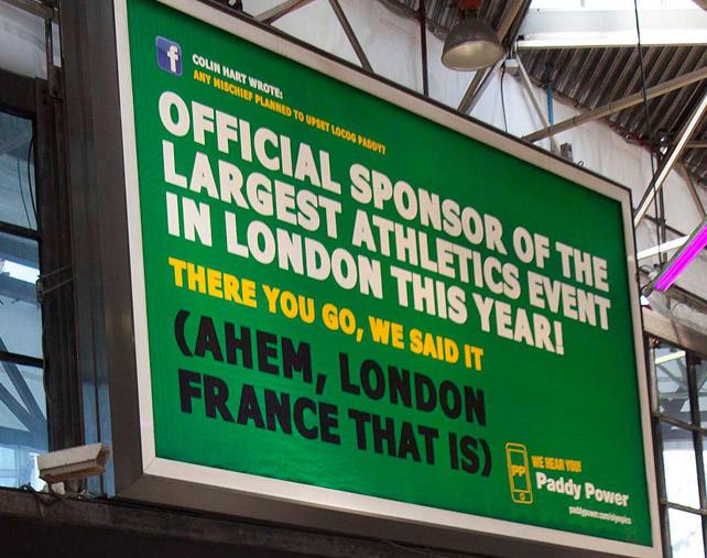 Ambush marketing Paddy Power London 2012 billboard campaign