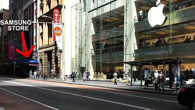Ambush marketing Samsung vs. Apple Sydney pop-up store iPhone 4S launch
