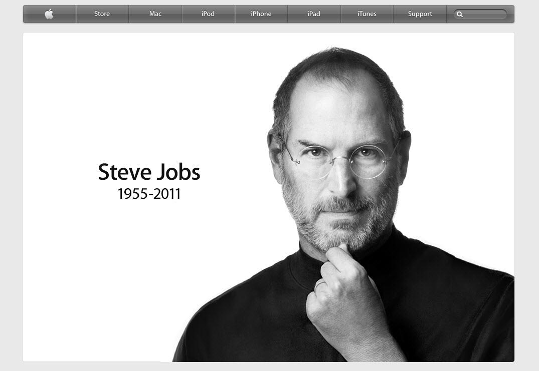 Steve Jobs commemorated on apple's homepage