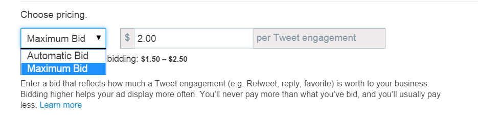 twitter ads bidding