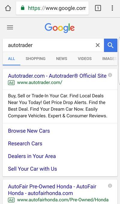 mobile branded search serp