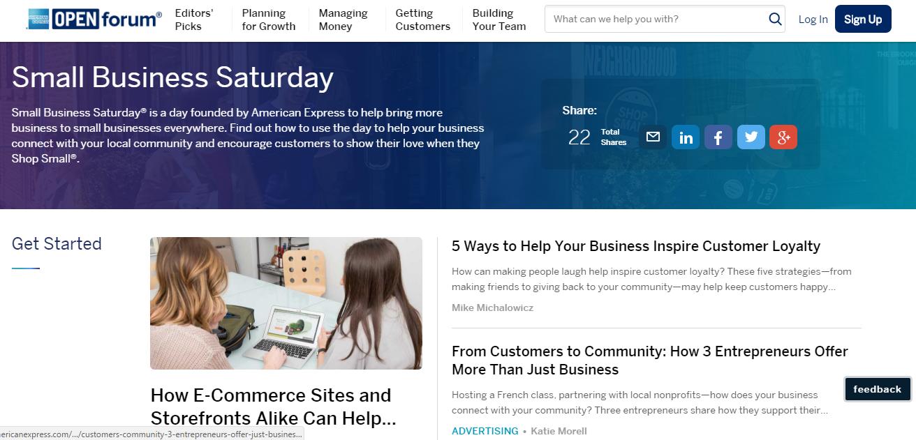 B2B content marketing American Express blog screenshot