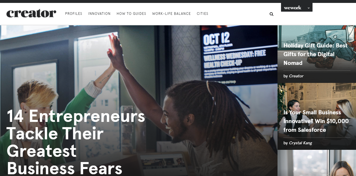 B2B content marketing WeWork Creator Magazine