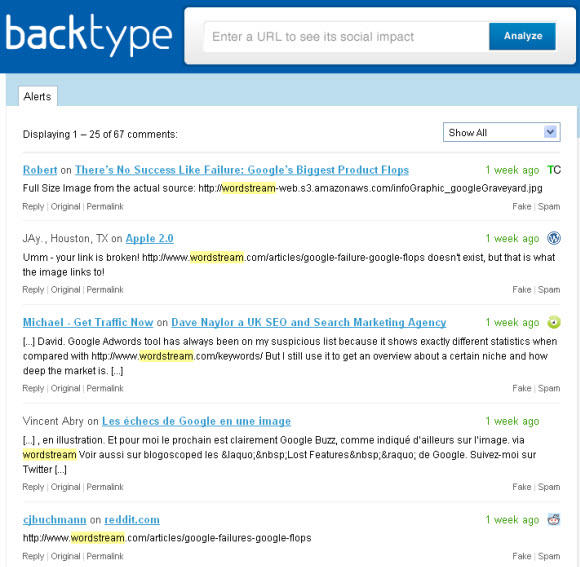 """Use Backtype Alerts to """"listen"""" for company brand and/or keyword mentions"""