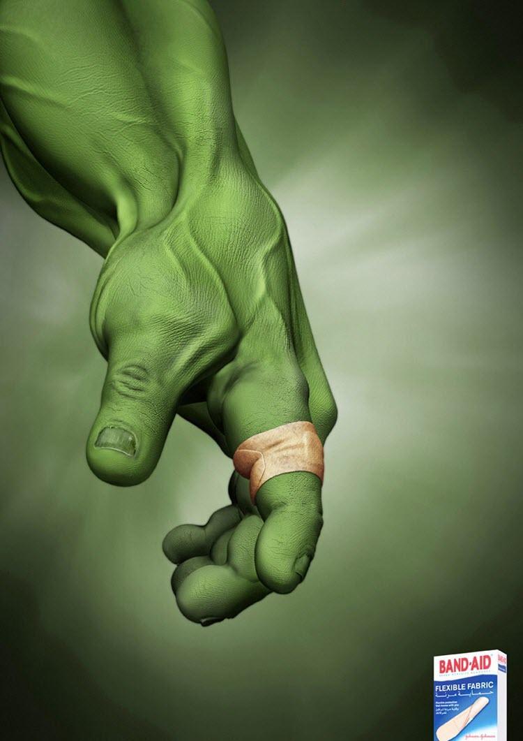 Creative Hulk Band-Aid Ad