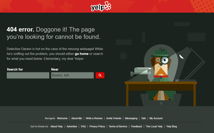 Yelp Error Page