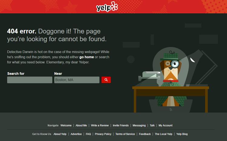 Yelp Error Page