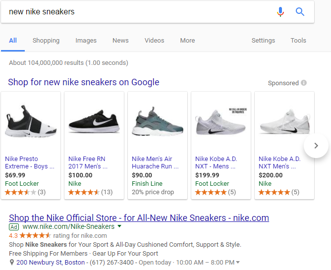 best ads nike serp