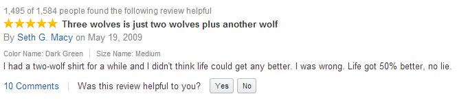 best amazon reviews wolf shirt