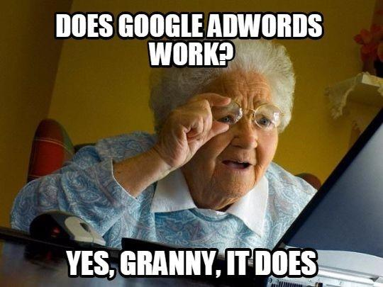 Funny image of granny on a computer asking if AdWords works