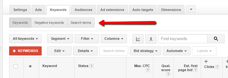 Image pointing out new search terms button in AdWords