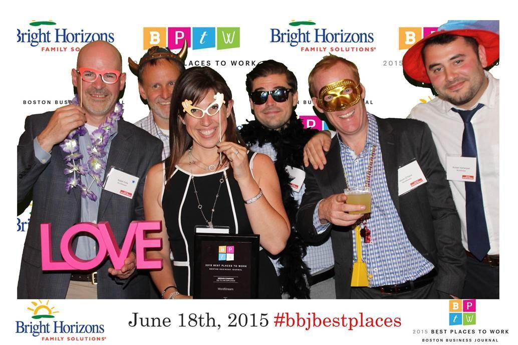 WordStream employees celebrating the honor of receiving the best place to work award