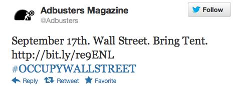 Top Occupy Wall Street Tweets
