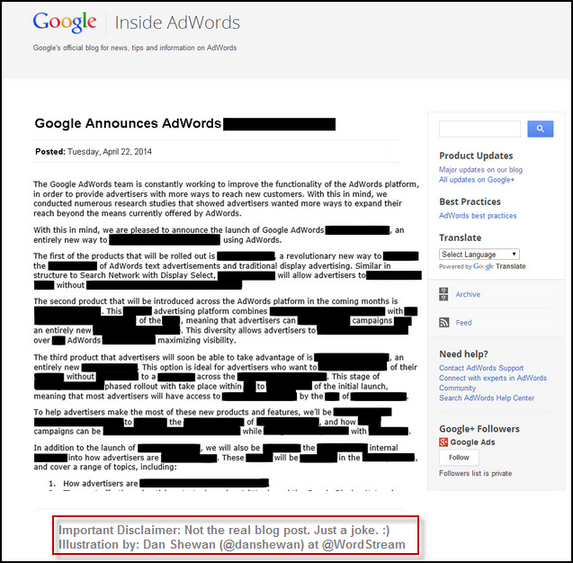 April 22 AdWords Announcement
