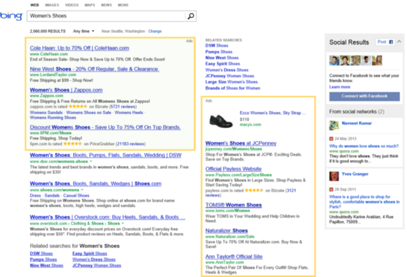 Bing Ads ad position