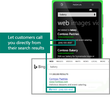 bing ads call extensions with and without website link