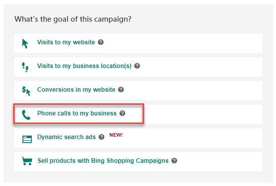 bing ads campaign goal drive phone calls for my business