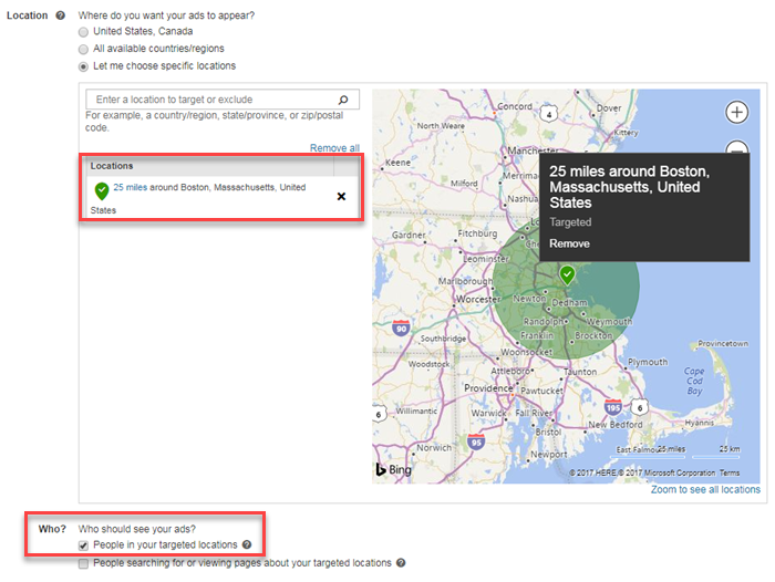 bing ads campaign level location targeting