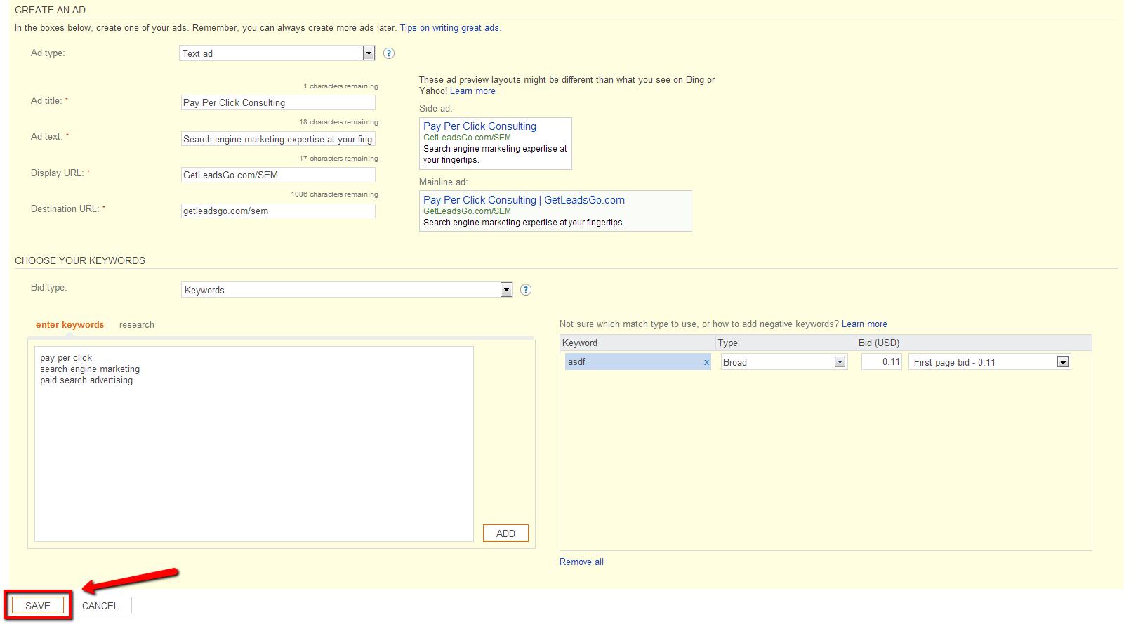 Bing Ads Campaign Settings