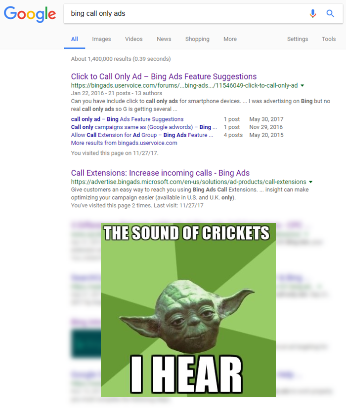 bing call only ads serp