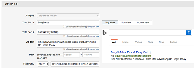 set up bing expanded text ads