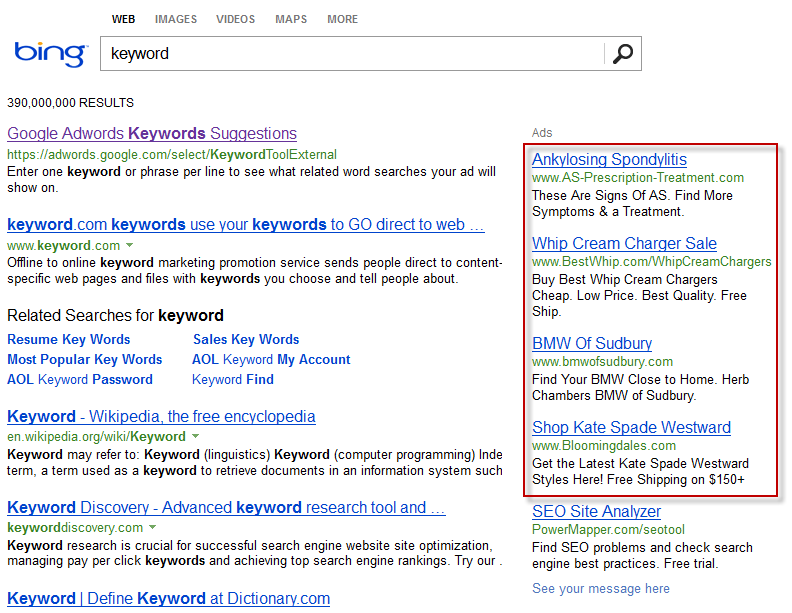 Bing keyword results