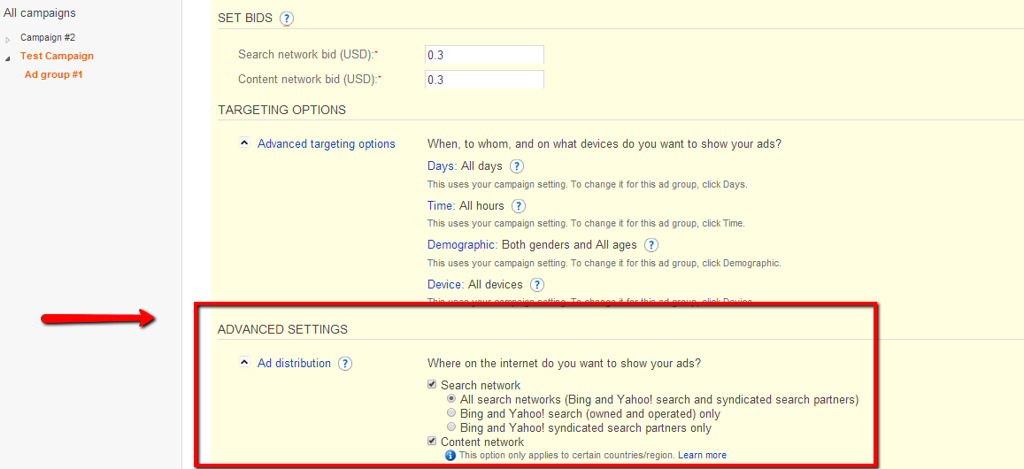 Bing PPC Advertising Settings