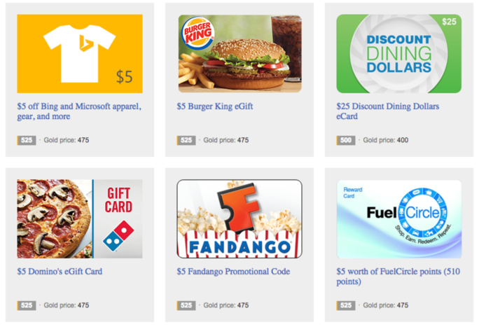 Bing Rewards coupons