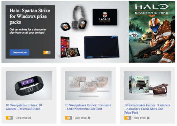 Bing Rewards prize packs