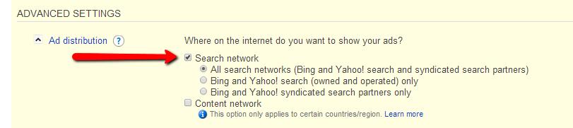 Bing Advanced Settings