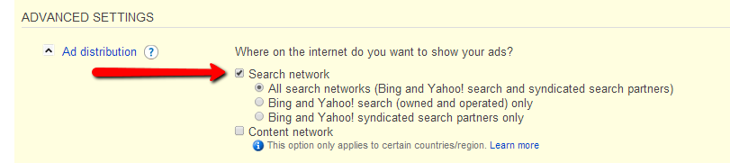 Bing Advanced Settings