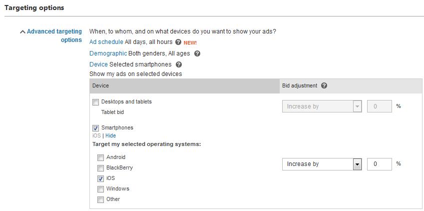 bing ads targeting options