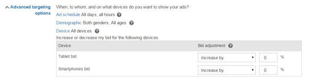 device based bidding in bing