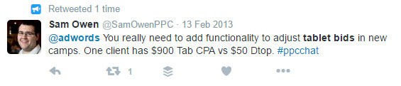 example of reaction to lack of tablet bidding in adwords
