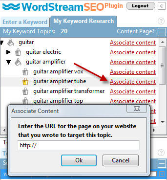 Associating keyword groups with content keeps you highly organized