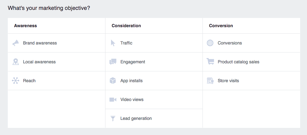 Brand advocacy paid social Facebook Ads campaign objective interface