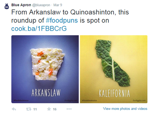 Brand marketing screenshot of a tweet from Blue Apron